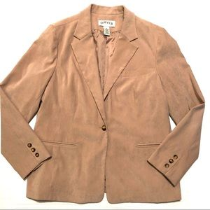 Orvis Faux Suede One Button Career Blazer 14